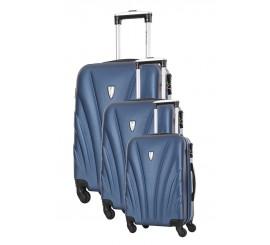 Set 3 valises Rigides PLATINIUM Série DELFINO, Bleu Marine