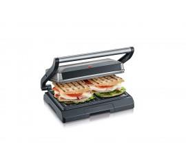 Severin KG 2394 Grill multi-fonctions compact, Panini, sandwich, 800 W, Gris Métallisé/Noir, marque Allemande